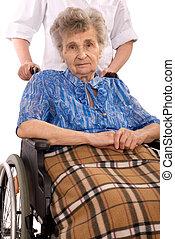 инвалидная коляска, женщина, пожилой