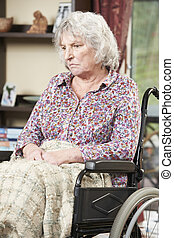 инвалидная коляска, женщина, старшая, несчастный, сидящий