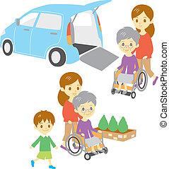 инвалидная коляска, женщина, старый