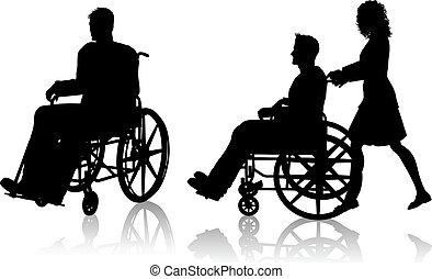 инвалидная коляска, женщина, человек