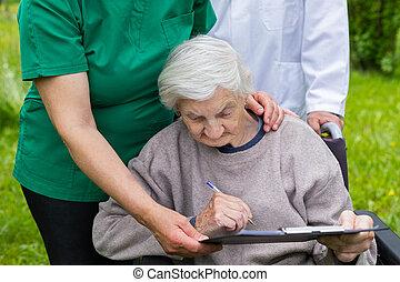 инвалидная коляска, женщина, aged, медицинская, помощь