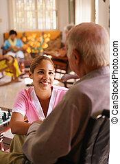 инвалидная коляска, пожилой, прослушивание, хоспис, медсестра, человек