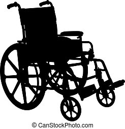 инвалидная коляска, силуэт, белый, isolated