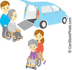 инвалидная коляска, старый, люди
