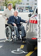 инвалидная коляска, человек, старшая, жена