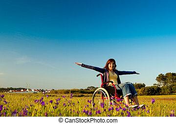 инвалид, женщина, инвалидная коляска