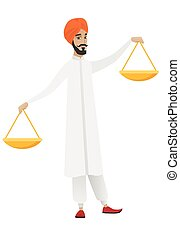 индус, scale., баланс, держа, бизнесмен