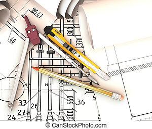 инжиниринг, tools., scrolls, drawings