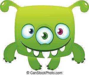 инопланетянин, иллюстрация, день всех святых, вектор, веселая, eyes., мультфильм, три