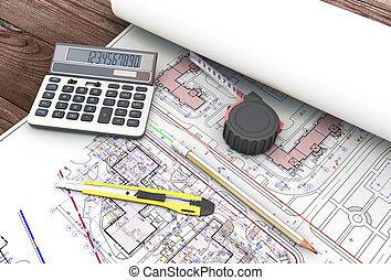 инструменты, архитектор, drawings