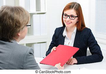 интервью, работа, заявитель, having