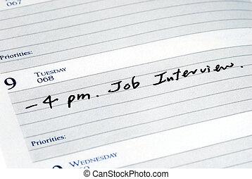 интервью, работа, планировщик, день, отметка