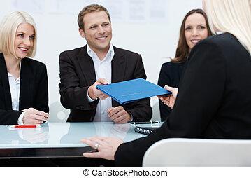 интервью, conducting, работа, бизнес, команда