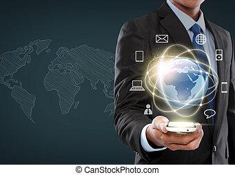 интерфейс, бизнесмен, navigating, виртуальный, реальность