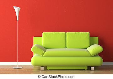 интерьер, дизайн, зеленый, красный, диван