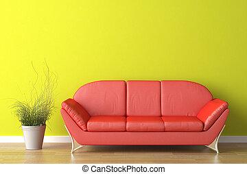 интерьер, зеленый, дизайн, красный, диван