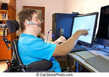 инфантильный, церебральный, компьютер, паралич, с помощью, человек