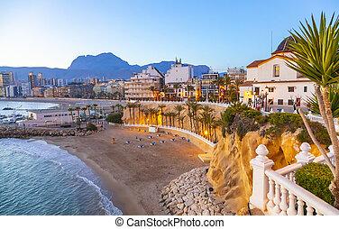 испания, курорт, benidorm, город, линия горизонта
