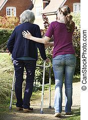 использование, дочь, рамка, гулять пешком, помощь, мама, старшая