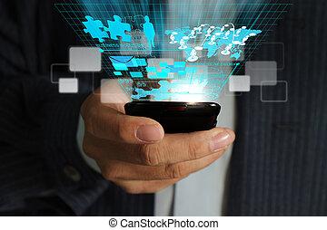 использование, сеть, бизнес, телефон, мобильный, виртуальный, рука, диаграмма, streaming, обработать, человек