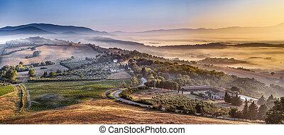 италия, над, страна, утро, туман, тосканский