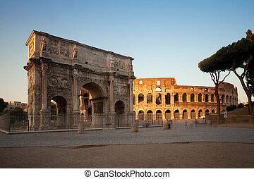 италия, рим, константин, колизей, арка, закат солнца
