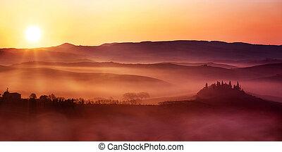 итальянский, пейзаж, рассвет, сельская местность