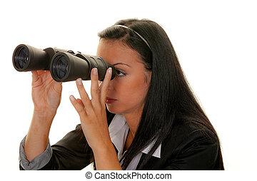 ищу, бизнес-леди, будущее, binoculars