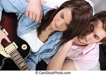 ищу, гитара, девушка, playing, человек