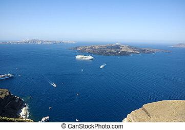 ищу, остров, santorini, кальдера