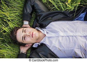 ищу, хорошо, поместиться, relaxing, мужской, модель, трава, лежащий