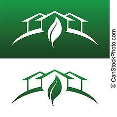 и то и другое, концепция, icons, твердый, дом, обратный, зеленый