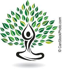 йога, поза, дерево, вектор, легко, логотип