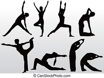 йога, поза, силуэт, женщины