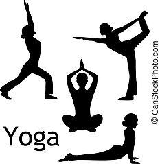 йога, poses, вектор, силуэт