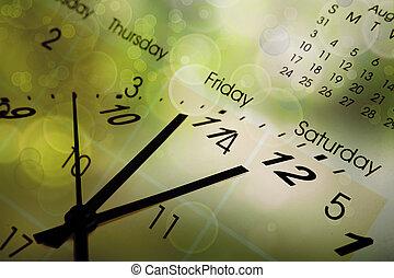 календарь, часы, лицо