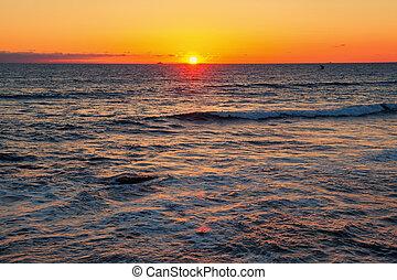 калифорния, закат солнца, море