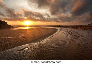 калифорния, пляж, закат солнца