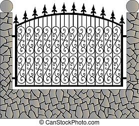 камень, железо, забор