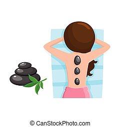 камень, женщина, получение, молодой, горячий, спа, салон, массаж