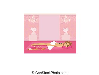 камень, женщина, получение, салон, горячий, спа, массаж
