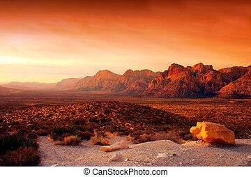 камень, каньон, красный, невада