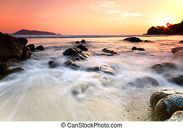 камень, море, sunset., composition., природа