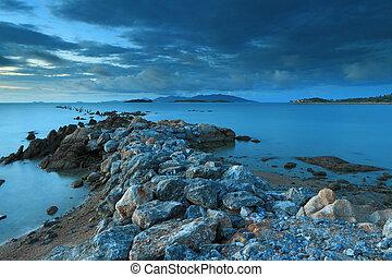 камень, остров, samui, таиланд, морской пейзаж, фантастика, мост