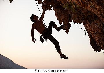 камень, силуэт, альпинист