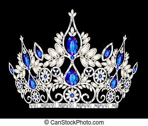 камень, синий, тиара, свадьба, women's, корона