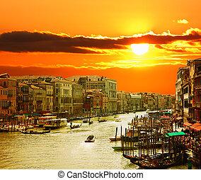 канал, венеция, закат солнца, большой