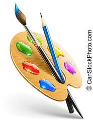 карандаш, палитра, изобразительное искусство, покрасить, щетка, инструменты, рисование