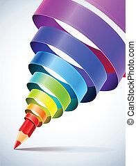 карандаш, спираль, творческий, шаблон, coloured, лента