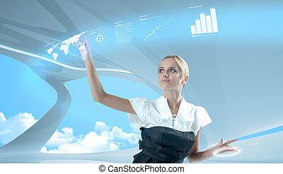 карта, виртуальный, трогательный, привлекательный, интерфейс, мир, блондинка, будущее